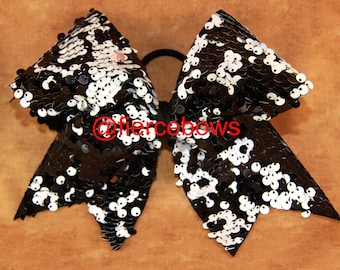Black and White Reversible Sequin Cheer Bow