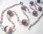 Cat's Eye Necklace Light Purple Lilac Beaded Hand knotted OOAK Long Statement  Summer Necklace - SanaGem