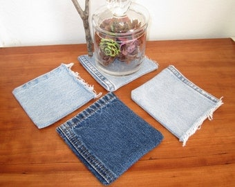 recycled denim coaster pockets