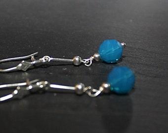 Blue Swarovski Crystal Sterling Silver Earrings