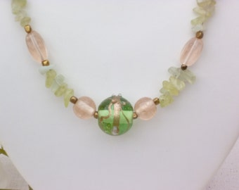 Glass Pearl Necklace with aquamarine splitter