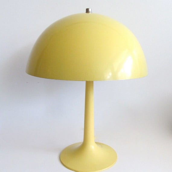 mid century modern yellow mushroom lamp verner panton style. Black Bedroom Furniture Sets. Home Design Ideas
