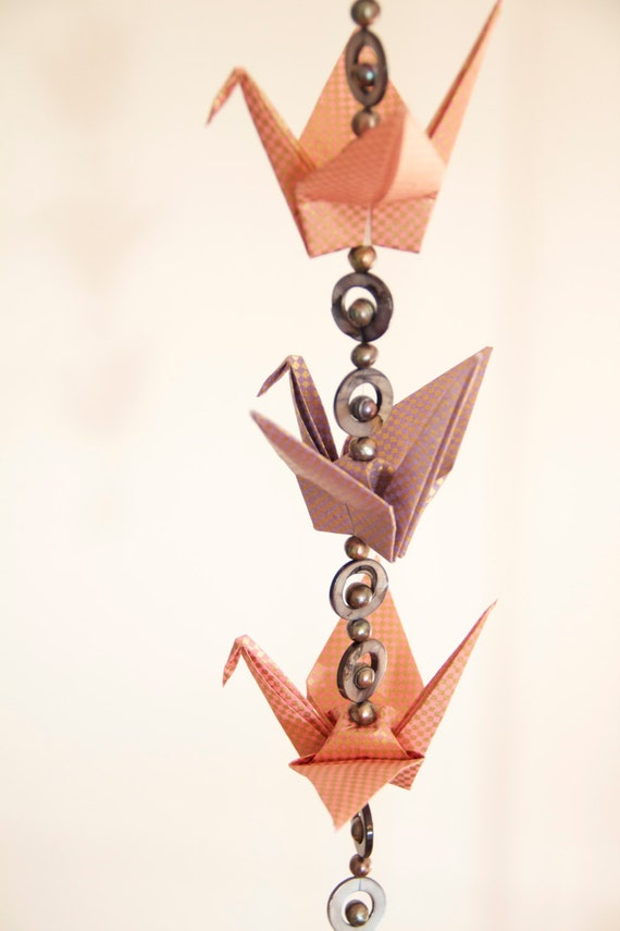 Stunning strand of origami cranes, made with high quality washi origami paper, and charcoal fresh water pearls