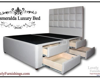 queen bed frame handcrafted upholstered linen bed with drawers made in the usa storage bed queen - Storage Bed Frames