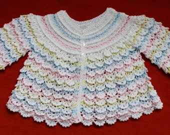 Multi-Color Cascading Ruffle Crochet Sweater