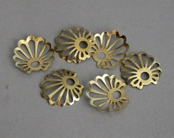50pcs Raw Brass Flowers Shape Cambered Charms, Findings 20mm - F01