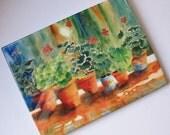 "Ceramic Art Tile ""Geraniums"" 6 x 8 kitchen art for mom flowers garden flower pots"