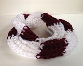 Deep Wine and White Crocheted Circle Scarf