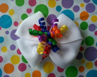 Rainbow Korker Hair Bow - Primary