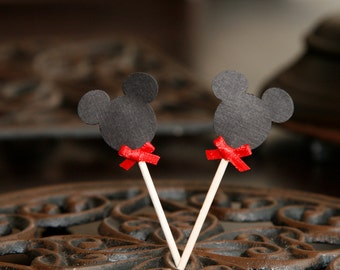 12 Mickey Mouse Cupcake Topper w/ Red Bow Tie