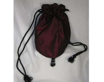 Draw-String Taffeta Purse in Iridescent Burgundy and Black Adorned with Beaded Rosettes