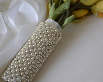 Beaded Rhinestone pearl Crystal Bridal Bouquet Wrap ,Bridal Bracelet,Wedding Bouquet Wrap,Bridesmaide Bouquet,pearl and Rhinestone Bouquet