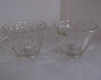 Clear Glass Creamer and Sugar Bowl