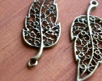 Hollow Antique Bronze Leaf Charm- Set of 2   -98-