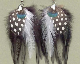 CUSTOM Hackle Feather Earrings with Guinea Spot Feathers