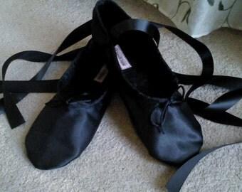 Black Satin Ballet Slippers - Full Sole or Split Sole