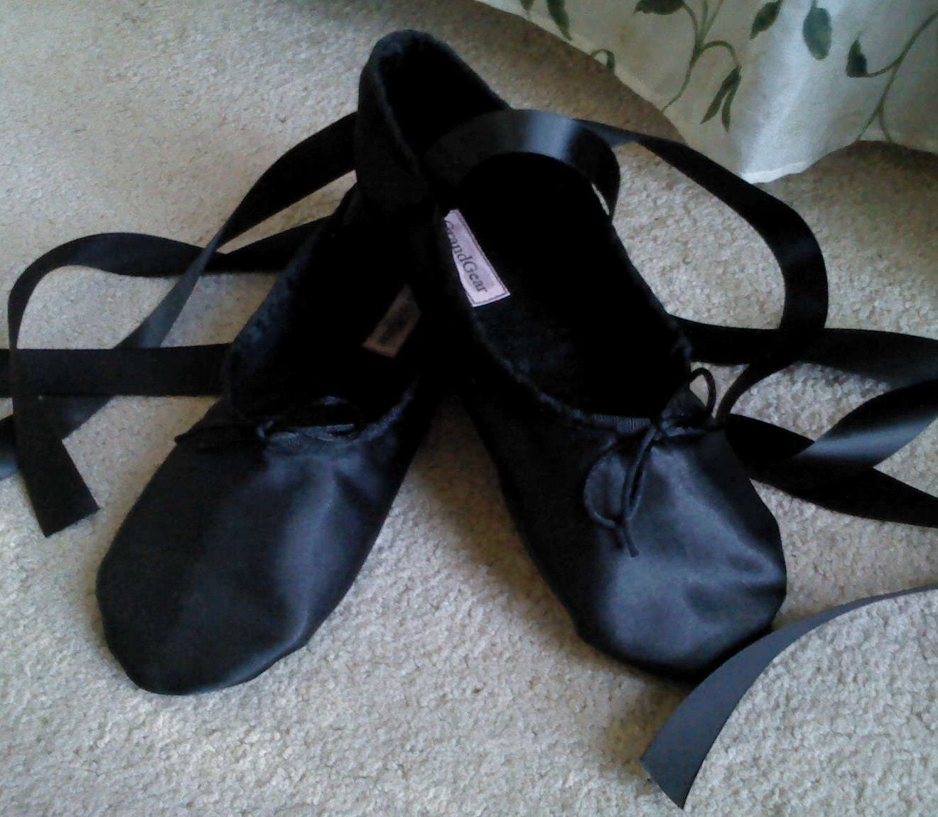 black satin ballet slippers sole or split sole