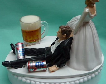Wedding Cake Topper Pabst Blue Ribbon PBR Beer Mug Cans Drinking Drinker Groom Themed w/ Bridal Garter Beverage Humorous Bride Dragging Fun