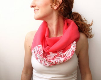 Coral Infinity Scarf with Lace, Lightweight Spring Scarf, Summer Accessory