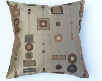 "Shimmering Geometric Jacquard - Mid-Century Modern Eames era atomic design - decorative Pillow -  17"" x 17"" feather/down"