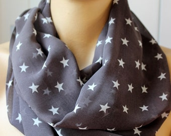 Stars Printed Dark Gray chiffon scarf Fashion infinity scarf Loop scarf Circle scarf  Women Scarf Gift ideas Accessories Fashion Scarves