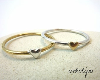Heart Stacking Ring - Heart Band - Gold Stacking Ring - Stackable band - Gift for her - Anniversary gift