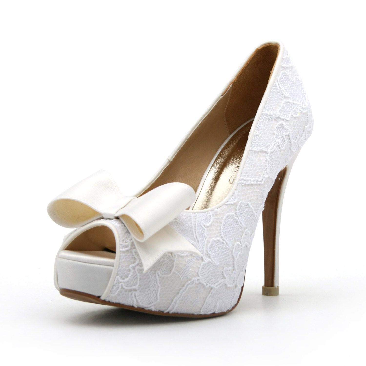 Lace White Wedding Shoe with Bow. Peep Toe Lace White Bridal