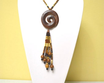 Handmade apricot & cherry wood exquisite necklace, nature, organic, coil, coiled circle, tassle  - WE 1021