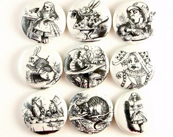 alice in wonderland decor button fridge magnet pinback pin cabochon cab charm