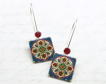 Mexican tile earrings boho blue red yellow green white silver plated kidney wire