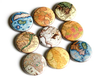 rustic vintage style map fridge magnets pin badge charm cab