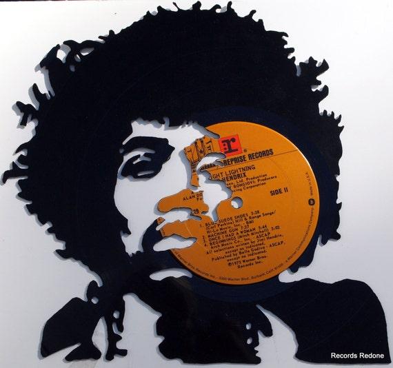 Jimi Hendrix Hand Cut Vinyl Record Silhouette by RecordsRedone