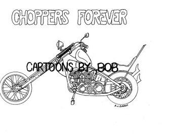 Chopper -- Motorcycle Drawing  --- 8 x 10 Print --  Limited Edition Print --- Signed and Numbered Print