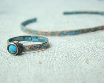 Blue TURQUOISE jewelry, turquoise RING BRACELET set