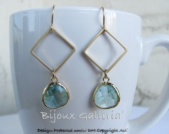 Gold Plated Square with Sparkle Ernite Pale Green Gemstone Drop Earrings.