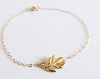 Gold Leaf Bracelet, 14kt Gold Filled Bracelet