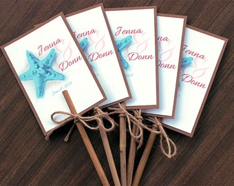 Starfish Destination Beach Tropical Wedding Bamboo Stick Program Fan - Customize