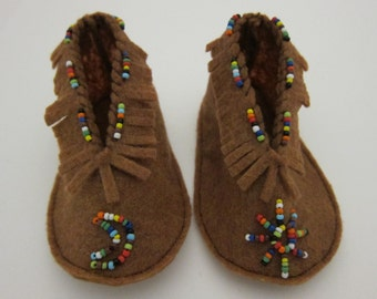 Russet Brown Fringed/Beaded Moccasin