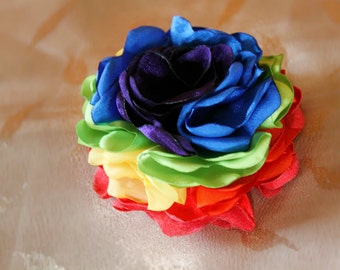 Rainbow Flower: shabby chic satin fabric, rainbow hair clip rainbow baby pin brooch  ponytail elastic red orange blue purple green yellow bl