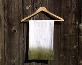 Hand Dipped Olive Green Ombre Tea Towel or Napkin for Kitchen, Decoration, Dinner Parties - teaandsugar