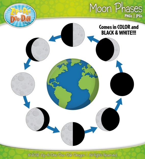 Moon Phases Clipart Set Includes 21 by ZipADeeDooDahDesign