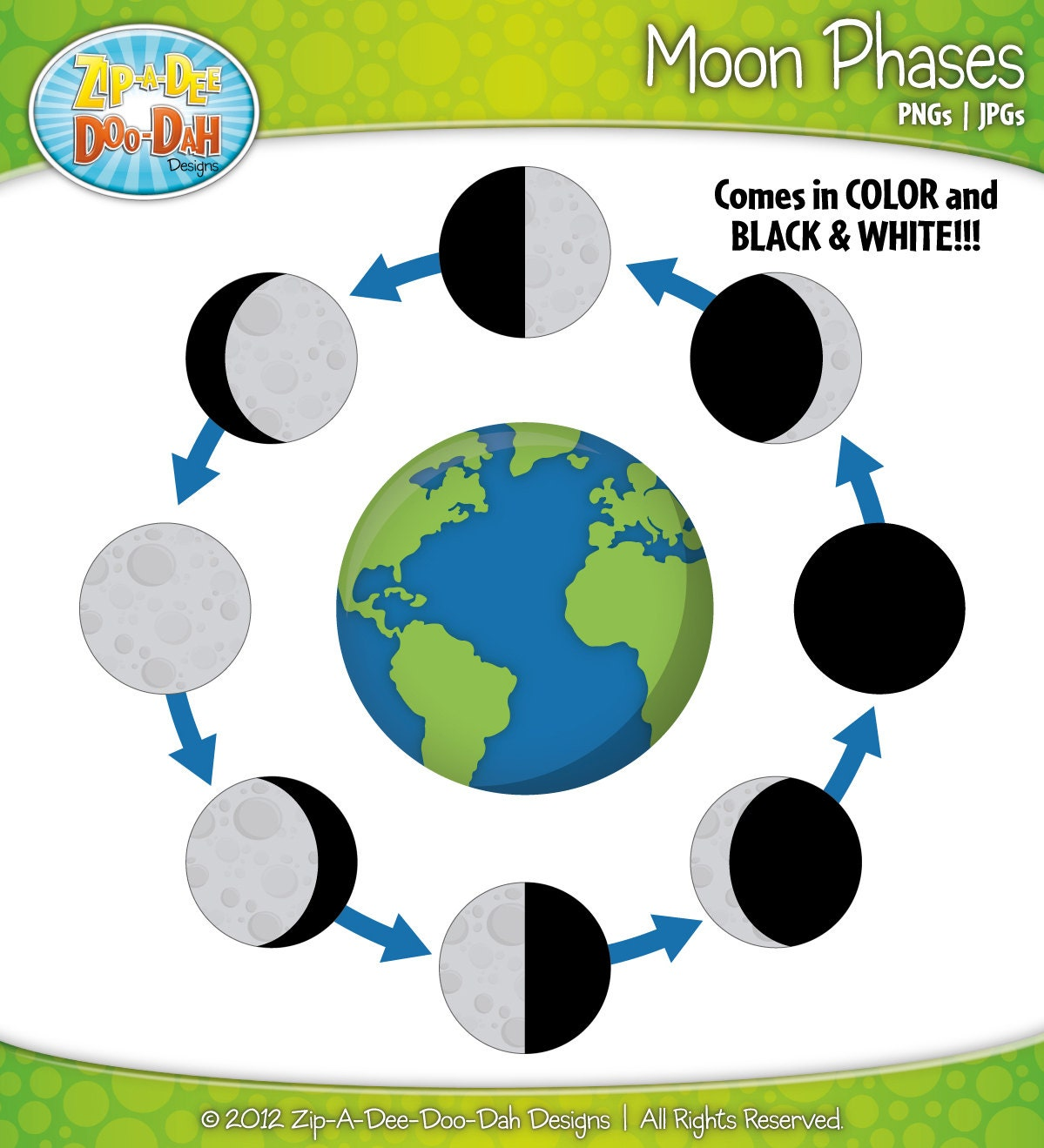 Moon Phase Clip Art Black And White Moon phases clipart set