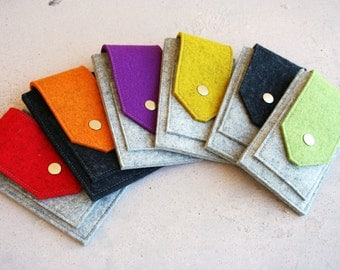 iPhone or iPod wallet -  Multiple color choices 100% merino wool felt