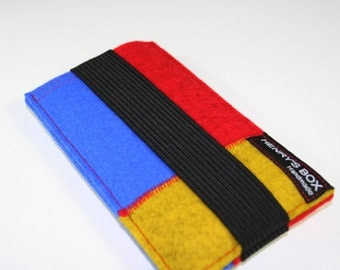 Strapped Patchwork - iPhone or iPod sleeve case  - Red, Blue, and Yellow Merino Wool Felt