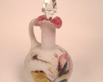 FENTON ART GLASS  Rose Moss on Peach Blow Cruet
