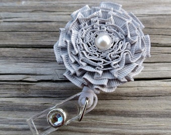 ID Badge Holder in Pleated Ribbon Flower Retractable ID Badge Holder Solid Gray Color