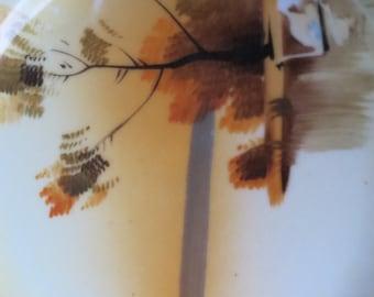 Pair of Hand Painted Japanese Lake Scene Plates