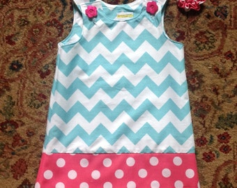 Custom Color Choice or -- Aqua Chevron Dress w Hot Pink Dotted Band, jumper, sundress, with matching hair accessory.