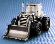 Personalized Bull Dozer Piggy Bank - Silver plated in a Pewter tone Finish - Great Gift for Boys!