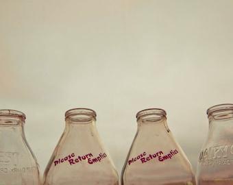 Milk Bottles Photograph, Print Wall Art, Red and Cream, Rustic, Kitchen Decor, Home Decor, Fine Art Photography, Still Life Photography
